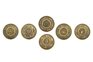 SIX SMALL MAMLUK-REVIVAL COPPER AND SILVER-INLAID CAIROWARE BRASS BOWLS Egypt, 20th century