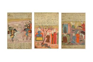 THREE ILLUSTRATED FOLIOS FROM A DISPERSED SHAHNAMEH OF FERDOWSI Iran, the text 15th - 16th century,