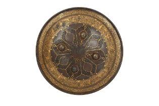 A QAJAR GOLD-DAMASCENED OPENWORK STEEL SHIELD Iran, first half 19th century