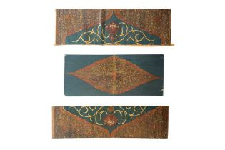 THREE LARGE QAJAR LACQUERED AND POLYCHROME-PAINTED WOODEN ARCHITECTURAL PANELS Qajar Iran, late 19th