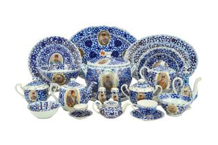 A MIXED SET OF COMMEMORATIVE BLUE AND WHITE PORCELAIN SERVICES MADE FOR THE PERSIAN MARKET Central A