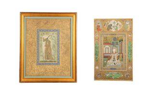 TWO ARCHAISTIC SAFAVID-REVIVAL PORTRAITS Iran, late 19th - mid 20th century