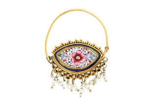 A POLYCHROME-PAINTED ENAMELLED GOLD EARRING Iran, 19th century