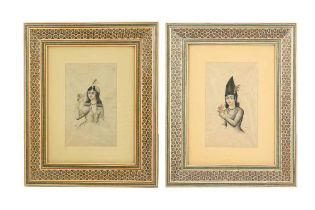 TWO TINTED PORTRAIT SKETCHES OF A QAJAR YOUTH AND A QAJAR LADY Qajar Iran, dated 1315 AH (1897) and
