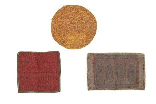 A PANEL OF JAMUVAR SHAWL CLOTH AND TWO TERMEH PANELS Kashmir, North India and Iran, 19th century