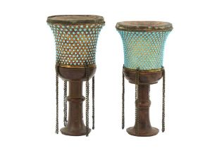 TWO TURQUOISE-INSET GILT COPPER QALYAN CUPS WITH WOODEN STEMS Qajar Iran, 19th century
