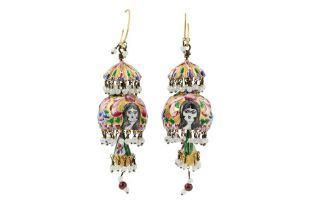 A PAIR OF POLYCHROME-PAINTED ENAMELLED GILT-COPPER EARRINGS Iran, 20th century