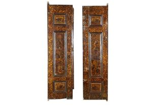 A SET OF SAFAVID-REVIVAL LACQUERED, GILT AND POLYCHROME-PAINTED WOODEN DOORS Iran, 20th century
