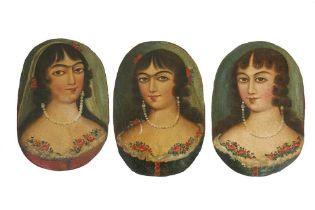 THREE OVAL PORTRAITS OF QAJAR BEAUTIES Qajar Iran, late 19th century