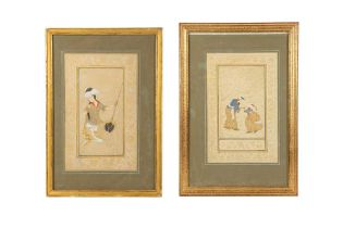 TWO ARCHAISTIC SAFAVID-REVIVAL TINTED DRAWINGS Iran, late 19th - first half 20th century