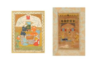 TWO ILLUSTRATED FOLIOS WITH INTIMATE BANQUETING SCENES Iran, 17th - 18th century