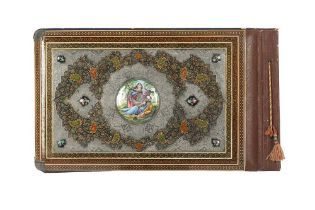 A POLYCHROME-PAINTED, LACQUERED AND ENAMELLED ALBUM COVER WITH KHATAMKARI Possibly Isfahan, Iran, la