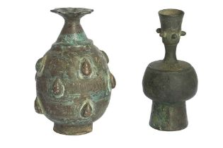 TWO SMALL ENGRAVED BRONZE VASES Possibly Khorasan, Eastern Iran, 11th - 12th century