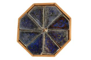 EIGHT COBALT BLUE AND COPPER LUSTRE-PAINTED POTTERY TILES Iran, 17th - 18th century