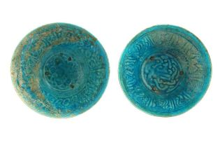 TWO MONOCHROME TURQUOISE-GLAZED BAMIYAN POTTERY BOWLS Afghanistan, late 12th - early 13th century