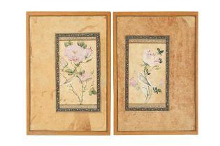 A PAIR OF QAJAR MURAQQA' ALBUM PAGES WITH STUDIES OF GOL-O-BOLBOL MOTIFS Qajar Iran, 19th century