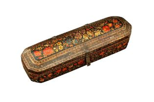 A KASHMIRI LACQUERED PAPIER-MÂCHÉ CALLIGRAPHER'S TOOLS AND PEN CASE Kashmir, Northern India, mid to