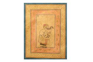 A ROBUST NOBLEMAN HOLDING A SACRIFICIAL LAMB Zand Iran, 18th century