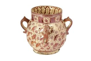 AN HISPANO-MORESQUE RUBY COPPER LUSTRE POTTERY VASE Manises, Post-Nasrid Spain, first half 17th cent