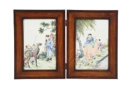 TWO CHINESE FAMILLE ROSE PLAQUES.