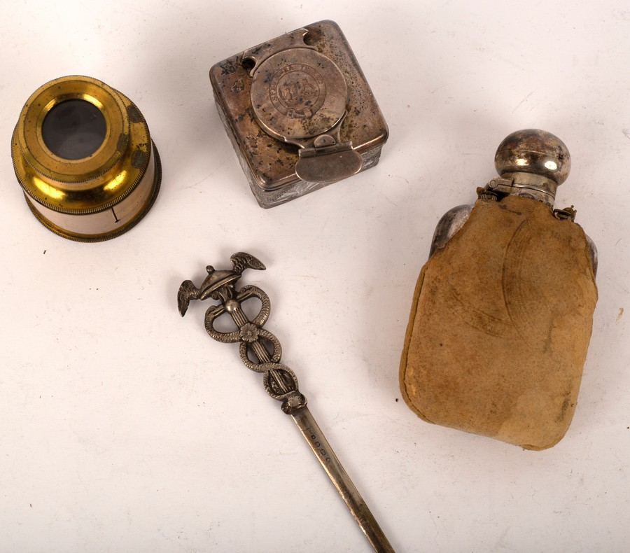 A Victorian silver letter knife, London 1849, with caduceus handle, a small silver hip flask, - Image 2 of 2
