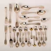A quantity of silver fiddle pattern flatware, various dates and makers,