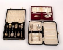A set of six Edwardian silver picture back teaspoons, TB&S, Sheffield 1907,