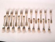 Ten George III silver fiddle pattern table forks, SH, London 1816,
