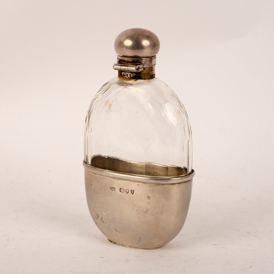 A Victorian silver mounted cut glass hip flask, JNM, London 1894,