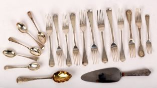 A quantity of silver flatware, Georgian and later, including forks, teaspoons and a cake slice,