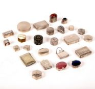 A collection of pill boxes and vesta cases, in silver, white metal and plate,