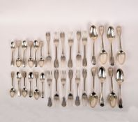 A George III part canteen of silver fiddle and thread pattern flatware, mostly Paul Storr,