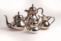 An Italian .800 standard silver four-piece tea and coffee service, marked Calegaro Italy, comprising