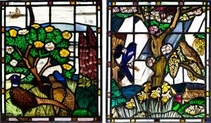 Edward Raymond Payne (1906-1991)/A Pheasant/Magpies/initialled and dated '87/two stained glass