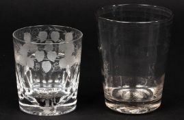 An English Lynn glass tumbler, 18th Century, the tapering sides with ribbed bands,