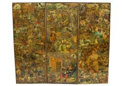 Three panels from a Victorian decoupage screen,