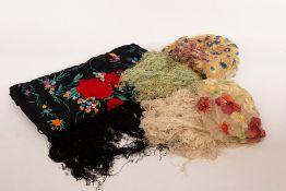 A Chinese silk shawl,
