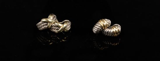 David Yurman, two pairs of silver and 14k yellow gold earrings, signed,