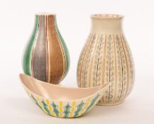Poole Pottery, a baluster vase, shape 337, decorated stylised leaves and stripe, 24cm high,