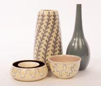 Poole Pottery, a freeform vase, YFT pattern, 24cm high, a plain bottle vase, 26.