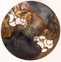 Sarah Reilly, a copper bowl with pierced organic designs,