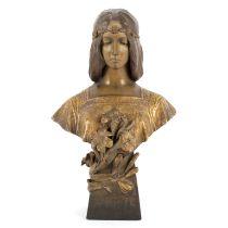 Goldscheider/Purete/an Art Nouveau painted and gilt terracotta bust,