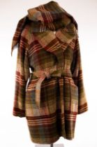 Mulberry, a wool check coat with pockets and belt and hat-pin fastening,