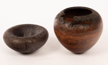 Mike Scott (Chai), a small wooden bowl of natural form, signed to base, and another by Ian Harris,