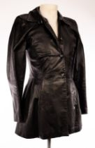 Emporio Armani, a longline black leather jacket,