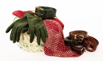 Mulberry, a pair of green suede gloves, lined, with Mulberry logo button fastening,