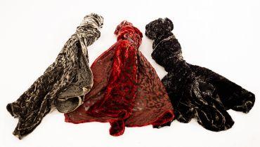 A red velvet devoré scarf, 160cm x 33cm,