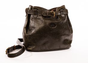 Mulberry, a Wexford olive green leather handbag with shoulder strap, front buckle closure,