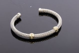 David Yurman, a silver and gold cable bangle, with two 14ct yellow gold collars, signed,