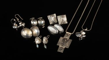 A quantity of modernist silver jewellery, including earrings, pair of cufflinks, maker AD,